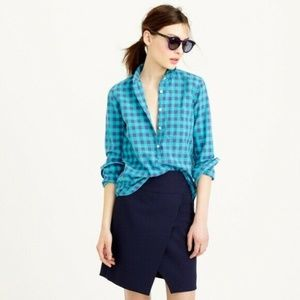 J. Crew Women's Top Size 10 Caribbean Blue Gingham